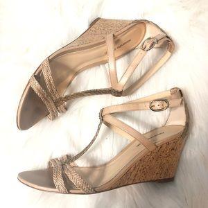 Alexandre Birman python T strap cork wedge sandals